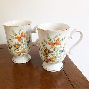 Vintage Ecstasy By Shafford Butterfly Mug Set